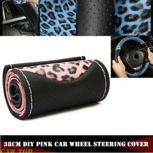 Leopard 38cm Diy Car Leather Steering Wheel Cover With Needle And Thread Pink