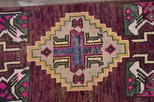 Vintage Small Rug Handmade Purple Kilim Rug 1 41 X 3 25 Ft Small Turkish Rug