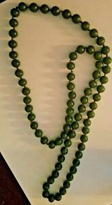 Vintage Chinese Nice Size Spinach Green Jade Beads Necklace 32