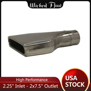 2 25 Inlet Flat Rectangle Exhaust Tip 2 x7 5 Outlet 9 5 Long Stainless Steel