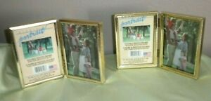 Two Vintage Goldtone Metal Double Hinged Folding Picture Frames 3 5 X 5