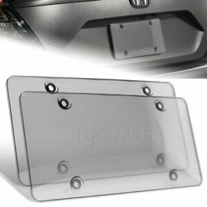 Tinted Clear smoke Protector License Plate Frame Shield Cover Front Rear 2 Pcs