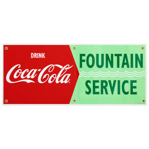 Drink Coca cola Fountain Service Waves Wall Decal 24 X 10 Vintage Style Kitchen