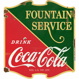 Drink Coca-Cola Fountain Service 1930s Wall Decal 23 x 24 Distressed