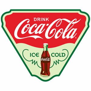 Coca-Cola Triangle Ice Cold Wall Decal 24 x 19 Vintage Style Kitchen Decor