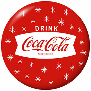 Drink Coca-Cola Fishtail Holiday Snowflakes Red Disc Decal 24 x 24