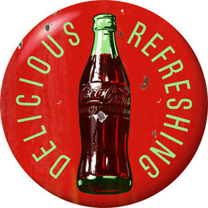 Coca-Cola Delicious Refreshing Red Disc Decal 24 x 24 Distressed