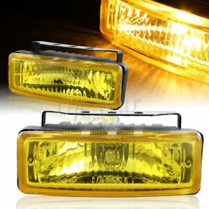 Universal Rectangle Chrome Housing Yellow Glass Lens Fog Light Lamp 5 X 1 75