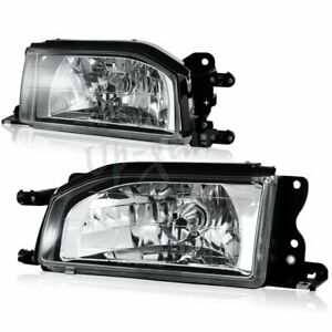 For 1988 1989 Mazda 323 Protege Chrome Housing Clear Lens Headlight Lamps