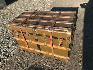 Trunks Treasures Antique Flat Top Steamer Chest Trunk