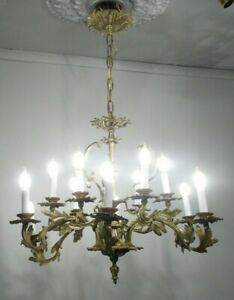 Antique Vintage French Dore Bronze Chandelier 12 Light Ornate Classic Rewired