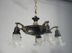 Antique Vintage Chandelier Fixture 5 Light Empire Pan Chandelier Glass Shades