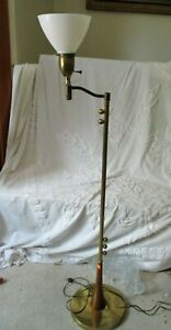 Vintage Mid Century Rembrandt Teak Wood Brass Floor Lamp W Swivel Arm