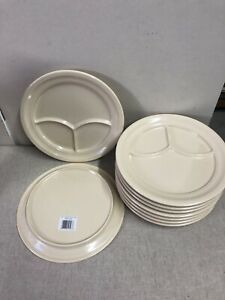 9 X Carlisle Dallas Ware 3 compartment Plate 9 3 4 Inch New With Tags On Set 9