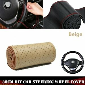 Beige 15 38cm Genuine Leather Thread Diy Car Steering Wheel Cover With Neddle