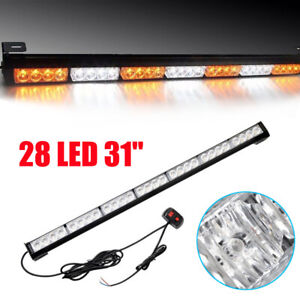 31 Inch 28 Led Emergency Strobe Light Bar Traffic Advisor Amber