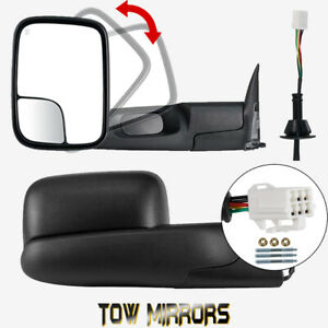 Tow Mirrors Left Right For 98 2001 Dodge Ram 1500 2500 3500 Flipup Power Heated