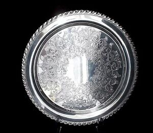 William A Rogers Silver Antique Platter W Scalloped Edges