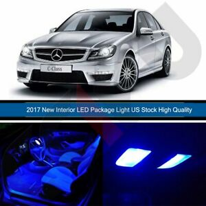 14x Blue Led Light For 2000 2007 Mercedes Benz C Class W203 Interior Package Kit