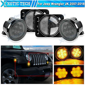 Led Turn Signal Side Marker Fender Lights Smoked Lens For Jeep Wrangler Jk