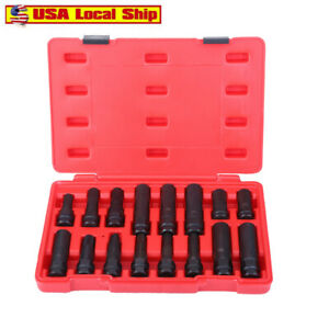 16pcs Security Locking Key Lug Nut Master Key Socket Set Tool Kit Wheel Remov