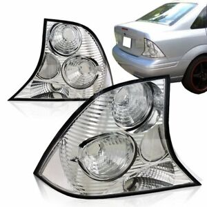 For 2000 2004 Ford Focus Lx Se Zts Sedan Chrome Housing Clear Lens Tail Lights