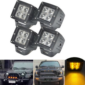 4pcs 12w Amber Led Work Light 3x3 Cube Pods Fog Driving For Offroad Truck Suv