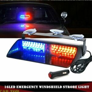 Red Blue 16led Emergency Car Windshield Flash Strobe Warning Lights Light 12v