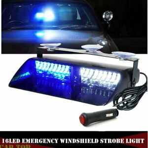 Blue White 16 Led Emergency Dash Vehicle Windshield Warning Flash Strobe Light