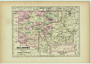 Oklahoma Original 1896 Copper Plate Map By Aj Johnson Indian Territory Rare