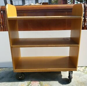 Vintage Solid Oak Library Book Cart By Gaylord Bros Inc