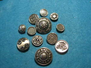 Vintage Buttons Lot Of 12 White Metal Buttons