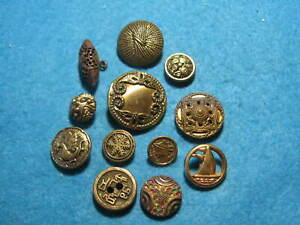 Vintage Buttons Lot Of 12 Brass Buttons
