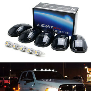 5pc Set Smoked Lens Truck Cab Roof Lights W White Led Bulbs For Truck Suv 4x4