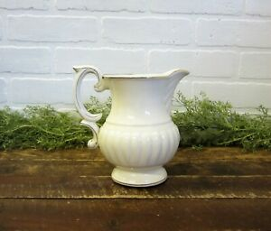 Vintage Hand Painted Gold White Porcelain 7 Pitcher Japan Ironstone Type