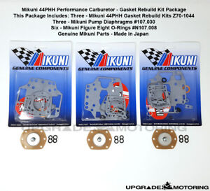 Mikuni 44phh Carb Gaskets Rebuild Kit X3 w pump Diaphragm fig 8 Oring 240z Solex