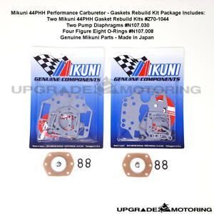 Mikuni 44phh Carb Gaskets Rebuild Kit X2 w pump Diaphragm fig 8 Oring 510 Solex