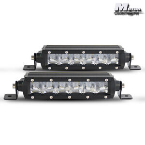 2pcs Led Light Bar Super Slim 7 30w Spot Driving Fog Light Single Row Off Road