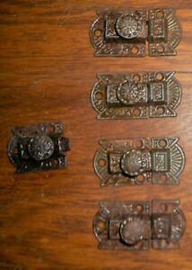 Set Of 4 Antique Eastlake Victorian Cast Iron Cupboard Cabinet Latches Vgc