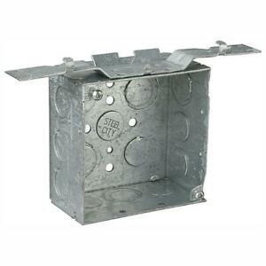 Steel City 2 gang 4 In New Work Metallic Square Electrical Box With Cv Bracket