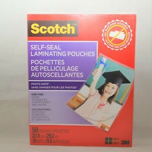 50 Pouches 8 5 x11 3m Scotch Self seal Laminating Pouches Gloss C