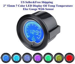 Us 2 52mm 7 Color Led Display Oil Temp Temperature Elec Gauge With Sensor New
