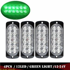 4x Green 12 Led Car Emergency Hazard Warning Beacon Strobe Flashing Light Bar