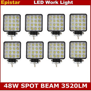 8x 48w Spot Square Led Work Light Offroad Driving Truck Lamp Fog Atv 4x4wd Ford