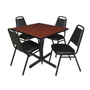 Cain 36in Square Breakroom Table Cherry 4 Restaurant Stack Chairs Black