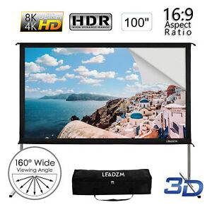 100 16 9 Fast Fold Projector Screen Hd Home Theater Outdoor 3d Movie Carry Bag