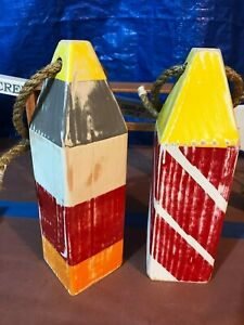 Maine Lobster Trap Buoy Wood Buoys Distressed Wood Vintage Painted New Low