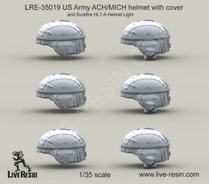 Live Resin 1:35 US Army ACH MICH Helmet w Cover Surefire HL 1-A Resin #LRE35019
