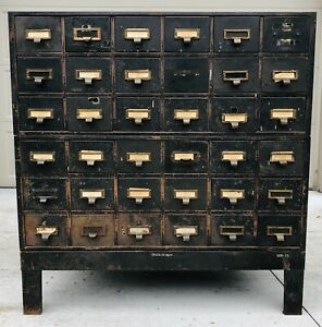 Vintage Metal Card Catalog Cabinet Library Industrial Rustic Farmhouse