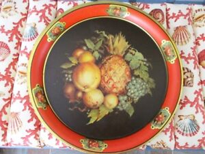Antique Victorian Style Still Life Tole Fruit Wall Or Serving Designer Tray